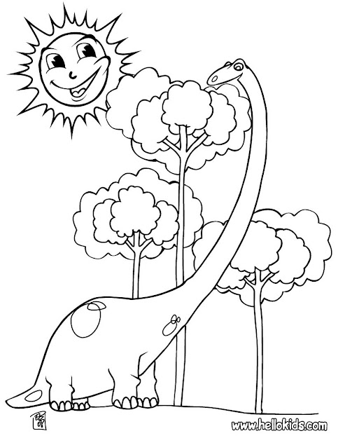 Big Tyrannosaurus Diplodocus And Tree Coloring Page  Coloring Page  Animal  Coloring Pages  Dinosaur Coloring Pages