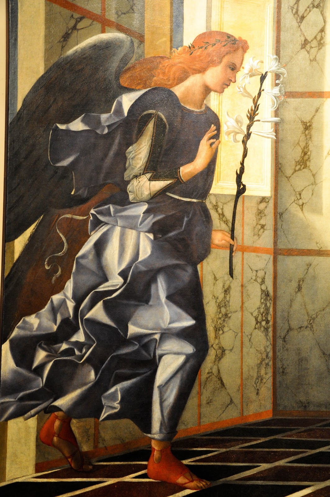 A close-up of the Angel of Annunciation, painting by Giovanni Bellini, Gallerie dell'Accademia in Venice