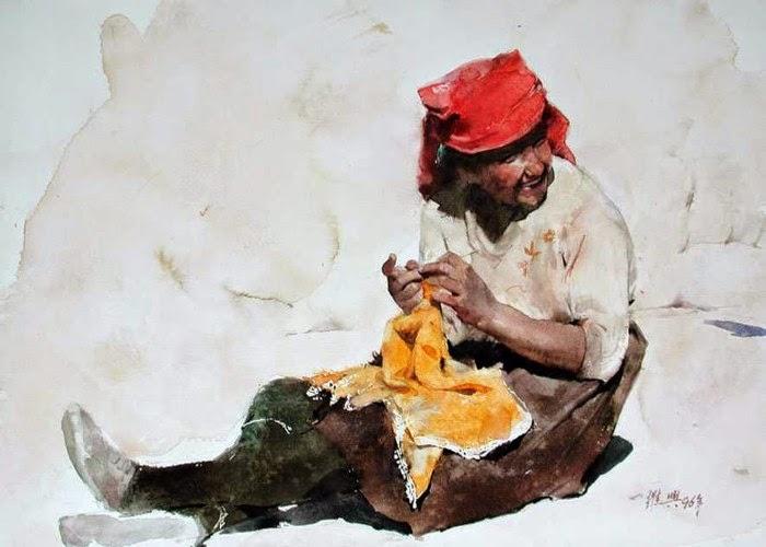 Картины акварелью. Guan Weixing