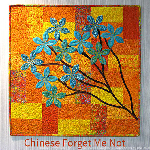 Chinese Forget Me Not Wall Hanging Designed By Connie Kresin Campbell of Freemotion by the River