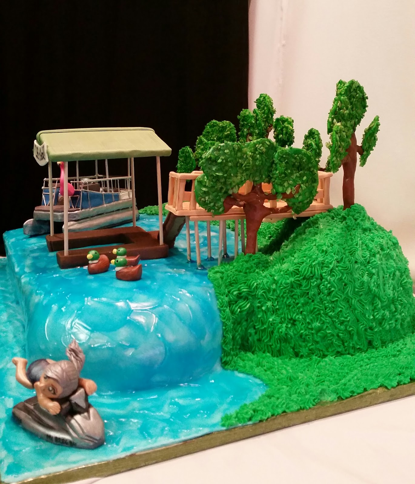 Pontoon Boat Birthday Cake