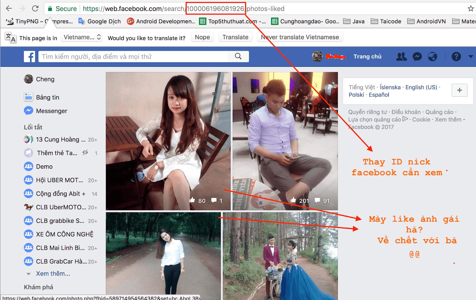 Xem người khác đã like những ảnh nào trên facebook