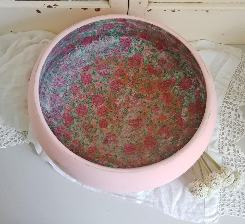 upcycled bowl with napkin decoupage