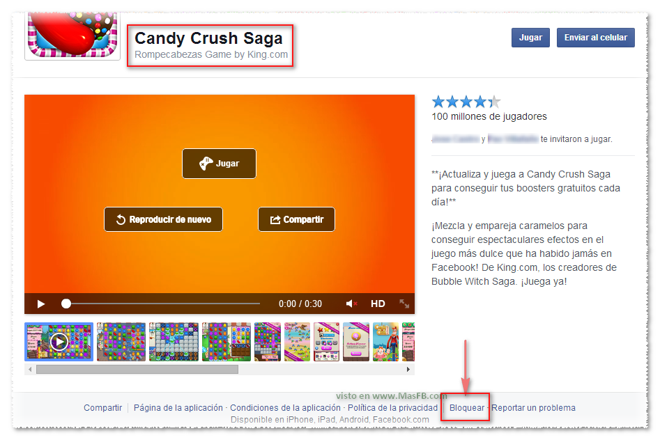 Bloquear juego en Facebook - MasFB