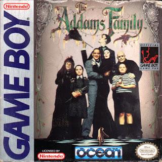 Portada del cartucho de la portátil Nintendo Game Boy de la familia Addams (1992)