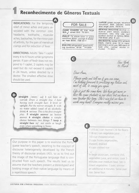 generos textuais ingles exercicios
