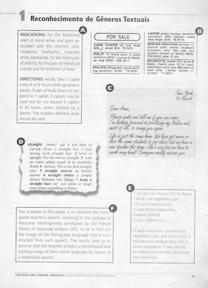 Reconhecimento de Gêneros Textuais com Exercícios.