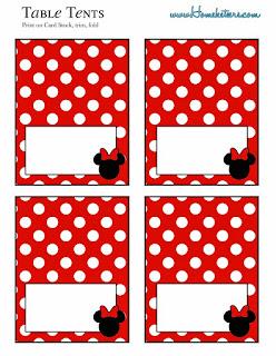Para hacer invitaciones, tarjetas, marcos de fotos o etiquetas, para imprimir gratis de Minnie en Rojo , Negro y Lunares.