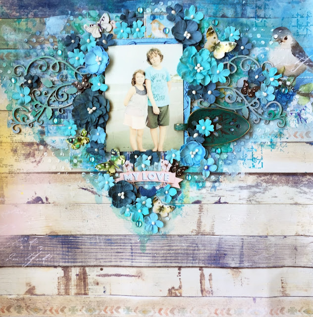 Scraps of Elegance scrapbook kits: blue mixed media layout w/our June Birds of a Feather kit, by Annie Carignan