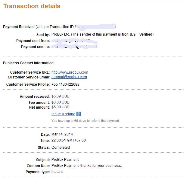 Probux Bukti Pembayaran Dari Probux Via Paypal Ahmad Rizal S Blog