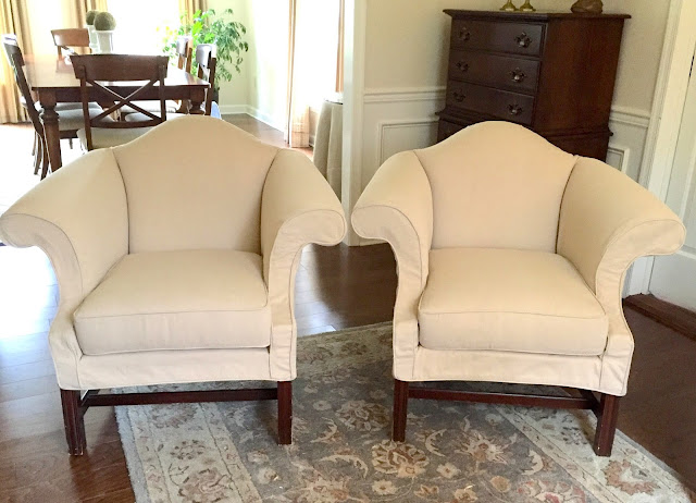 Exceptional Queen Anne Chairs In Creamy Denim Twill. Before Pictures HERE