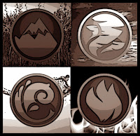 Pathfinder, The four elements, earth, air, wind and fire symbols quartered over images of the same.