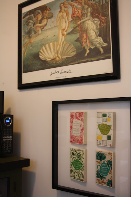 Kitchen decor, shadowbox art with Penguin Great Food books and Birth of Venus print