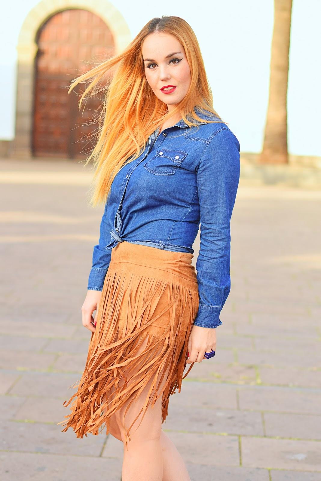 sammydress, nery hdez, primark, fringes skirt, falda de flecos