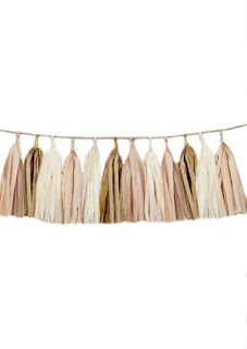 Tissue tassel garland blush, antique white and vintage gold tissue paper tassel // birthday // wedding // baby shower nursery baby girl chic soft