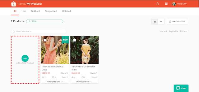 Shopee add new product via desktop