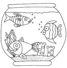 Three Fish With Castle On Aquarium Coloring Pages