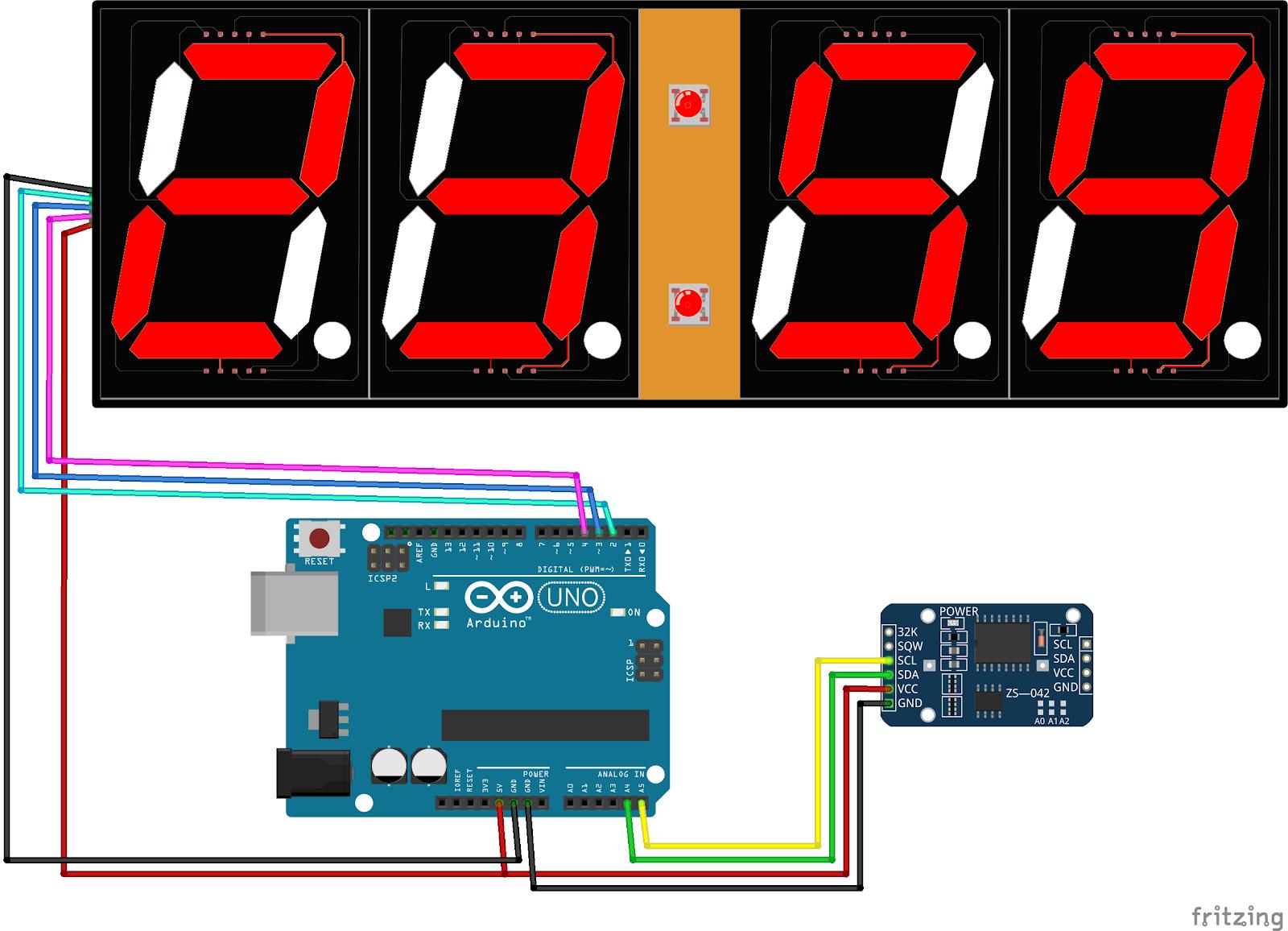 Arduino Uno 2. Modul RTC DS3231 3 Modul 7 Segment 1 fa3ef302b3