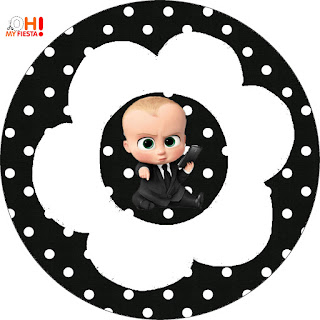 The Boss Baby Party Free Printable Cupcake Wrappers and Toppers.