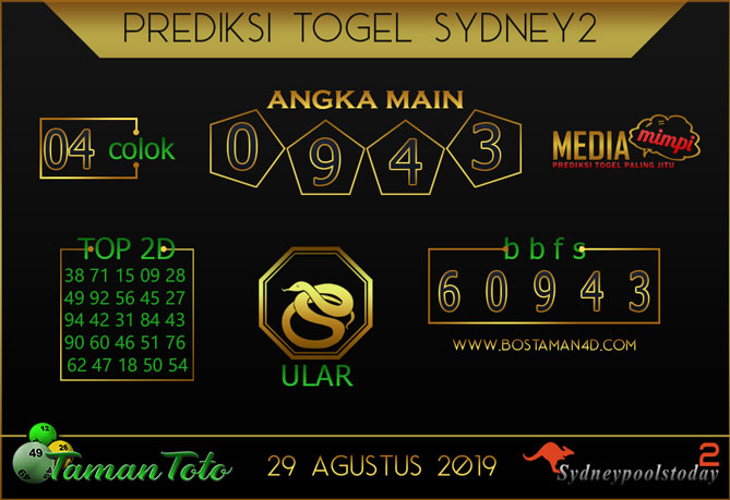 Prediksi Togel SYDNEY 2 TAMAN TOTO 29 AGUSTUS 2019