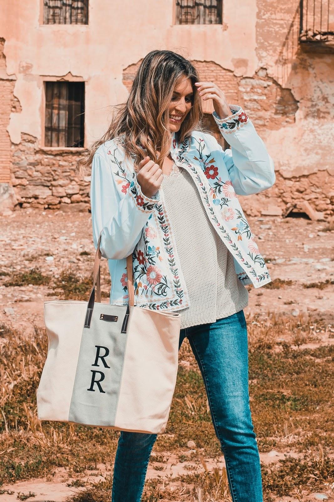 chaqueta bordados florales
