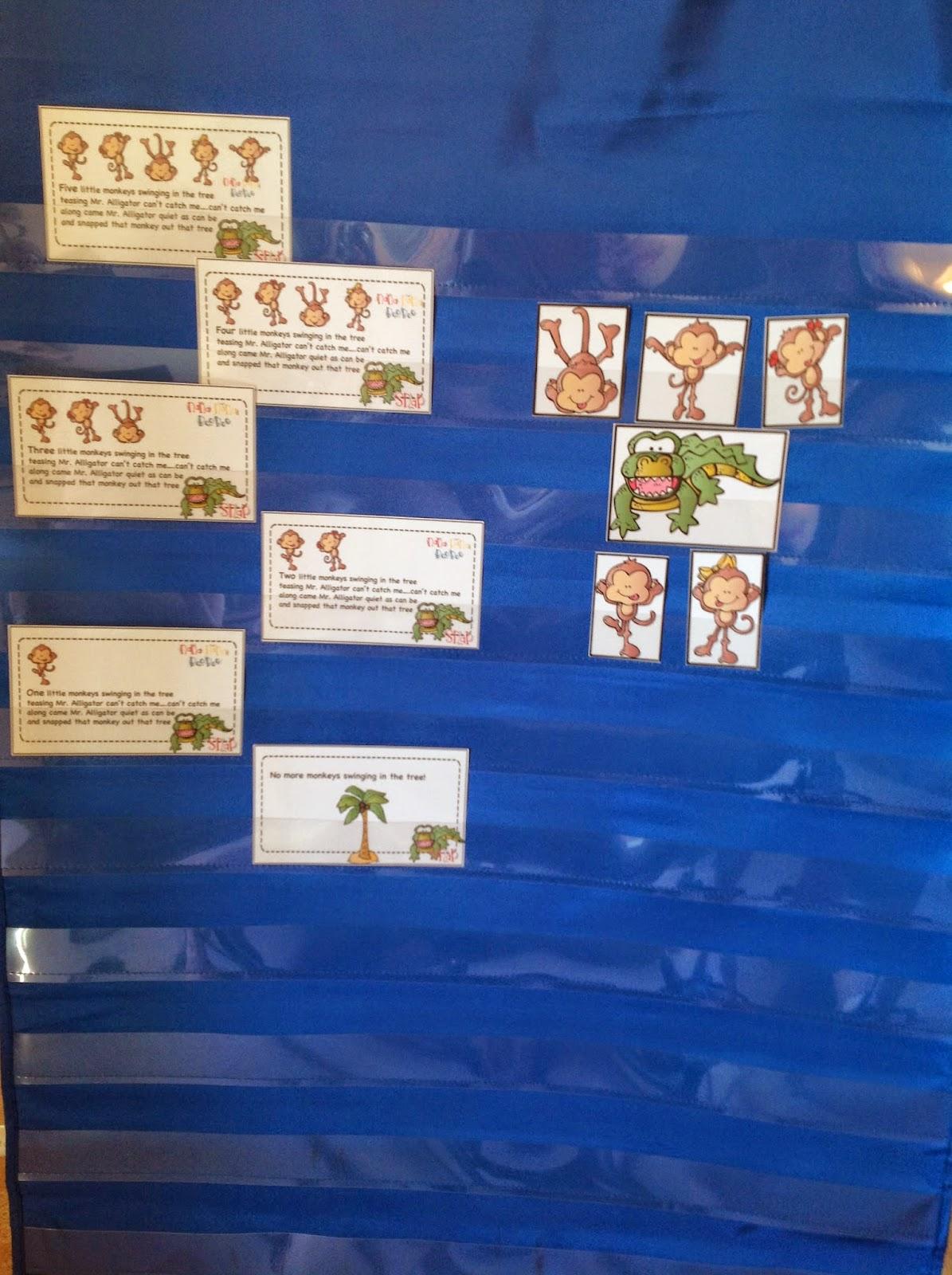 Five Little Monkeys Swinging In A Tree Pocket Chart Cards Preschool Printables