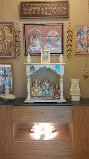 Pooja unit with a temple in marble