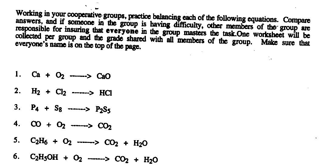 Writing Chemical Reactions Worksheet Balancing Chemical Equations