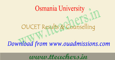 OUCET results 2019, ou pgcet counselling dates 2019