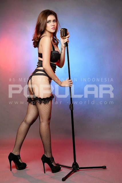 Nadine Iskandar on Black Lingerie on Popular Magazine March 2015
