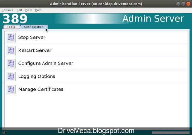 En la pestaña Task podemos ejecutar tareas basicas para nuestro 389 Server