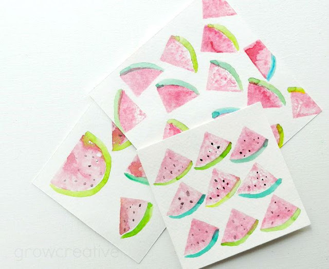 watercolor watermelon stamps: grow creative