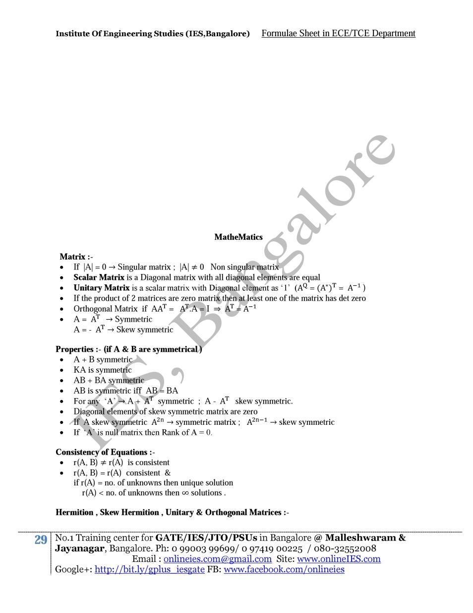 Formula sheet - Mathematics - Gateway of Engineering