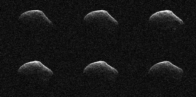 These radar images of comet P/2016 BA14 were taken on March 23, 2016, by scientists using an antenna of NASA's Deep Space Network at Goldstone, California. At the time, the comet was about 2.2 million miles (3.6 million kilometers) from Earth. Credits: NASA/JPL-Caltech/GSSR