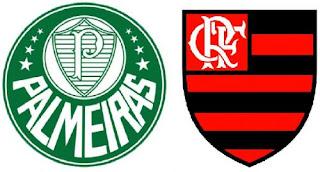 Ilustração escudos Flamengo ou Palmeiras em 2016