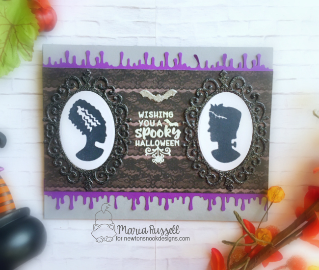 Halloween card by Maria Russell   Creepy Cameos Halloween Stamp Set and Cameo Frame Die Set by Newton's Nook Designs #newtonsnook #handmade