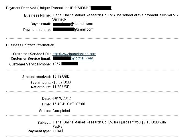 Pembayaran dari id.ipanelonline.com Situs Paid To Survey Indonesia