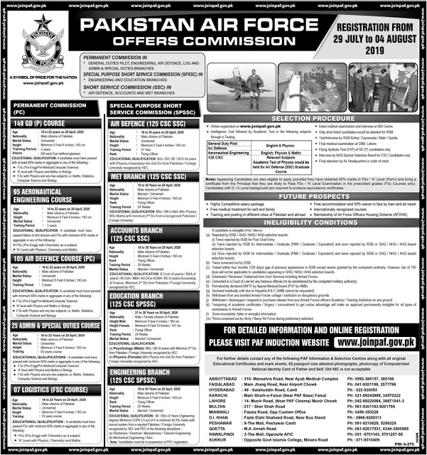 Pakistan Air Force as Offers Commission Jobs 2019