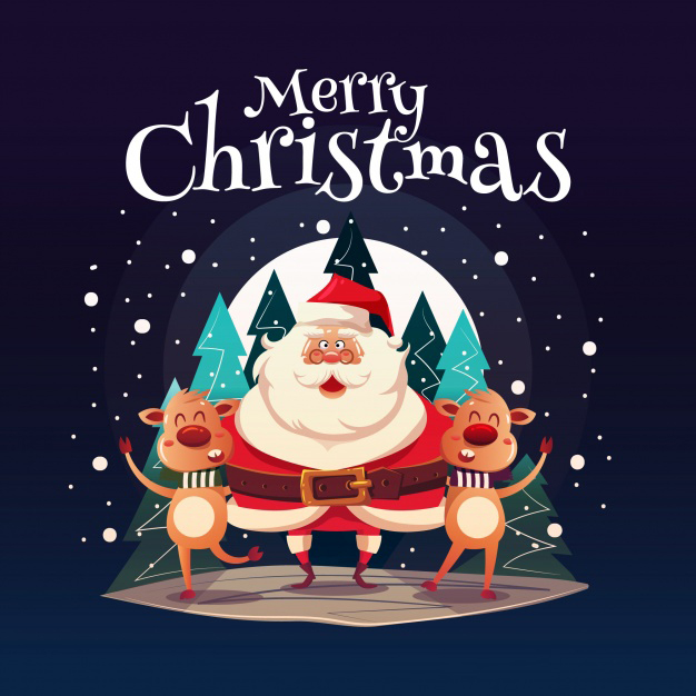 Happy santa claus with funny reindeers Free Vector