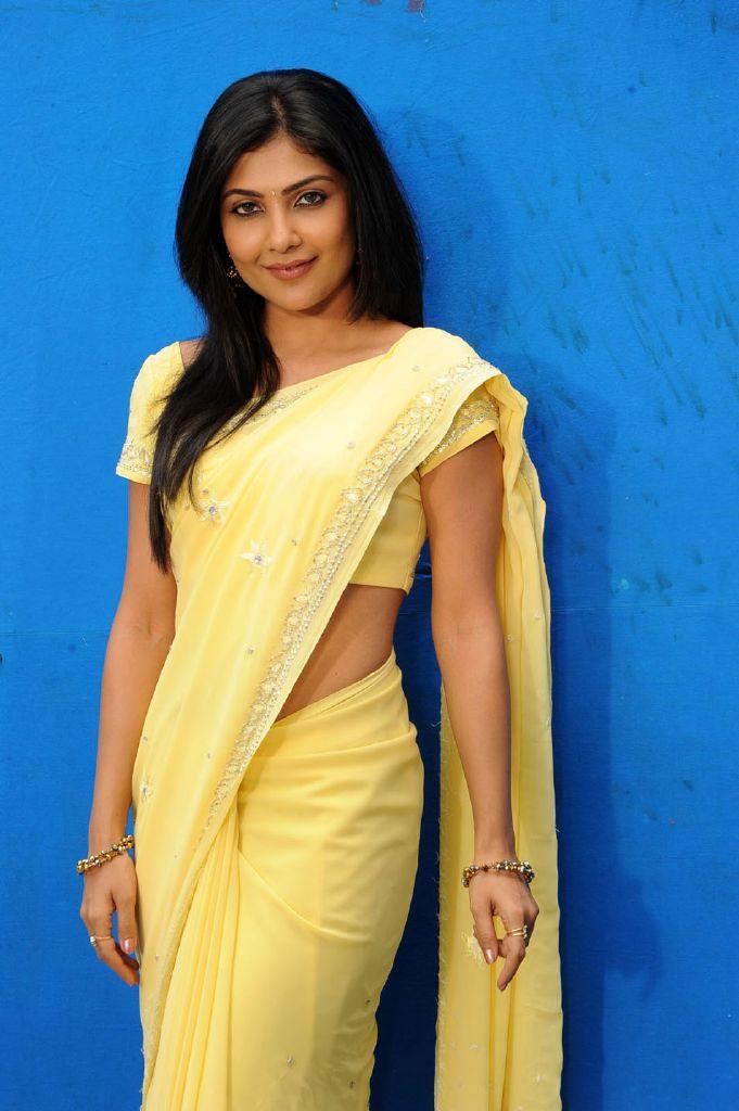 Actress Kamalinee Mukherjee Yellow Saree Stills
