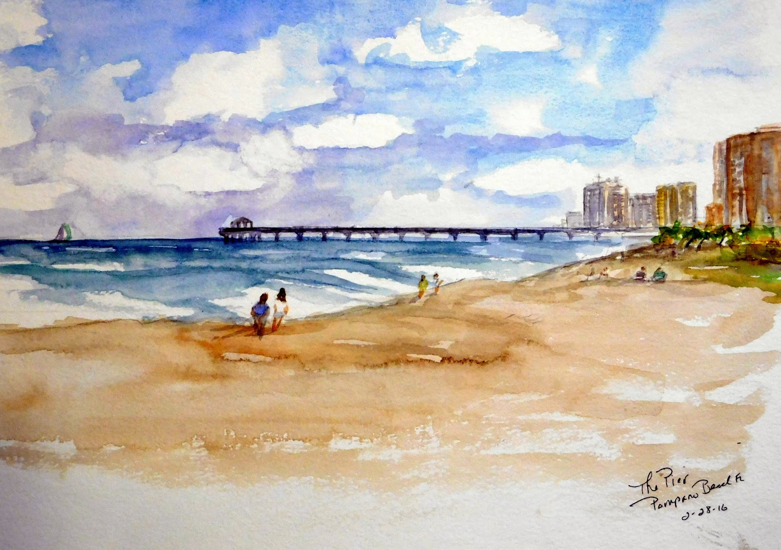 Anna jacke paints my life through watercolors for Pompano fishing pier