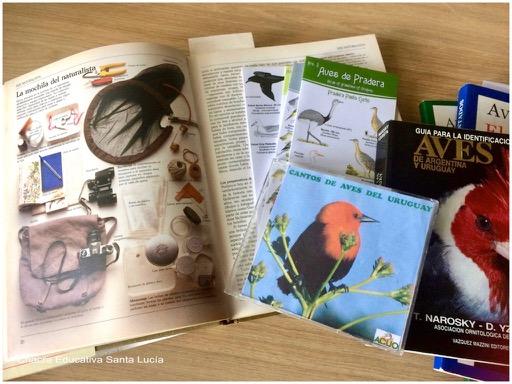 Libros de ciencias, guías de aves, grabaciones de cantos de aves - Chacra Educativa Santa Lucía