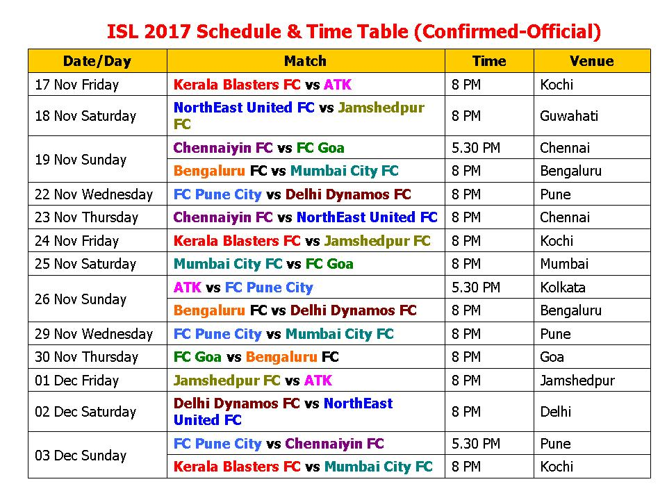 Learn New Things ISL 2017-18 Schedule  Time Table (Confirmed-Official)