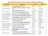 Teams: Atletico de Kolkata  Kerala Blasters Mumbai City FC Delhi Dynamos FC Goa FC Pune City Chennaiyin FC NorthEast United FC Bengaluru FC Jamshedpur FC ISL 2017-18 Schedule & Time Table (Confirmed-Official), Indian Super League 2017 (ISL) Schedule & Time Table, ISL 2107 confirmed schedule, ISL 2017-18 live match, ISL 2017-18 live score, ISL 2017-18 final schedule, Indian Super League 2017 schedule fixture, Indian time, match timing, GMT, IST, Indian Super League 2017 all teams, Indian Super League 2017 all player list, confirmed schedule, ISL 2017-18, official schedule ISL 2017-18, all teams match, player list, team squad, Indian player, foreign player list,