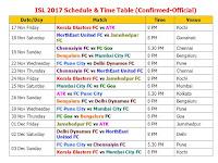 Teams: Atletico de Kolkata  Kerala Blasters Mumbai City FC Delhi Dynamos FC Goa FC Pune City Chennaiyin FC NorthEast United FC Bengaluru FC Jamshedpur FC ISL 2017-18 Schedule & Time Table (Confirmed-Official), Indian Super League 2017 (ISL) Schedule & Time Table, ISL 2107 confirmed schedule, ISL 2017-18 live match, ISL 2017-18 live score, ISL 2017-18 final schedule, Indian Super League 2017 schedule fixture, Indian time, match timing, GMT, IST, Indian Super League 2017 all teams, Indian Super League 2017 all player list, confirmed schedule, ISL 2017-18, official schedule ISL 2017-18, all teams match, player list, team squad, Indian player, foreign player list,