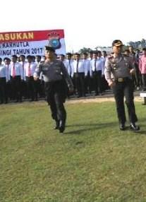 Siaga Karhutla, Polres Kuansing Menggelar Apel Gelar Pasukan 2017