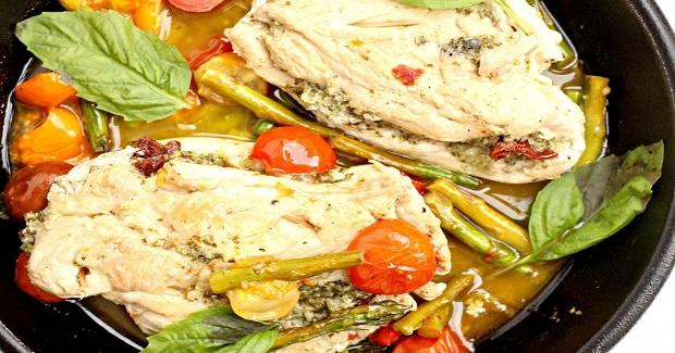 Pesto Chicken With Sun Dried Tomatoes Recipe