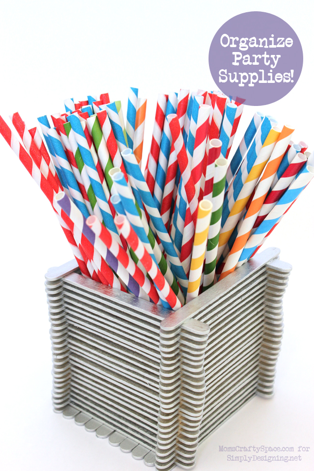 Party Container Set with Popsicle Sticks - this is a really fun kid craft that has so many uses!  #kidcraft #kidactivity #summer