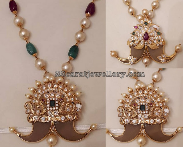 Pachi Work Tiger Nail Lockets by Sri Mahalaxmi Jewellers