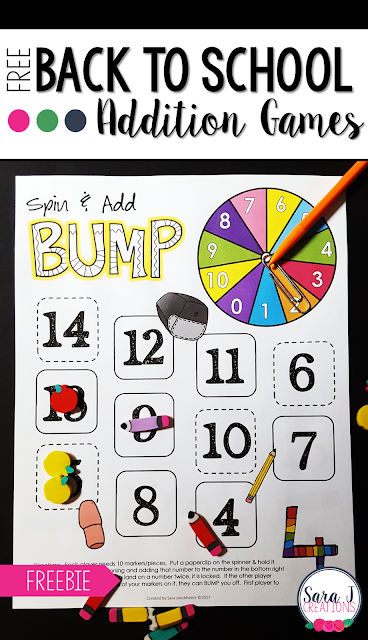 Free back to school addition games to practice math fact fluency for numbers 1-10.